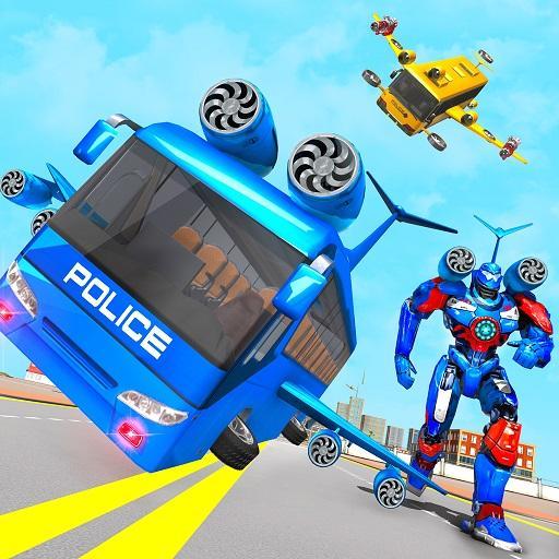 Flying Bus Robot Transform War- Police Robot Games Apk Mod latest 1.15