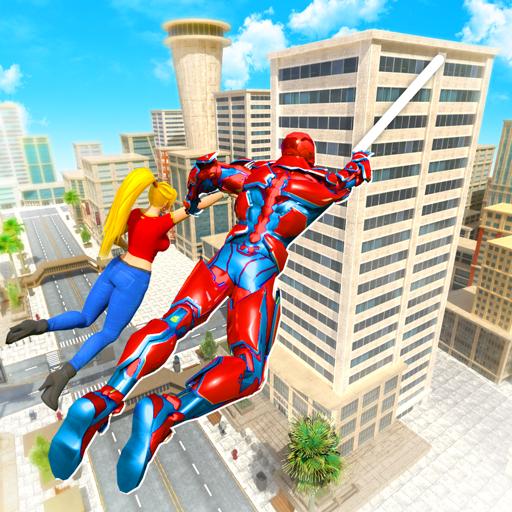 Flying Police Robot Rope Hero: Gangster Crime City  32 Apk Mod (unlimited money) Download latest