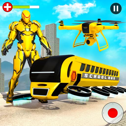 Flying School Bus Robot: Hero Robot Games 34 Apk Mod (unlimited money) Download latest